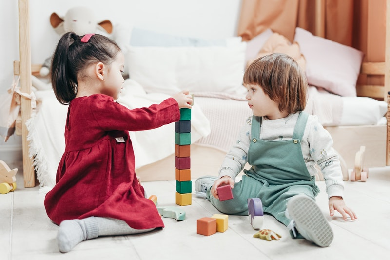 Preschool aged children playing with toys in Raleigh NC