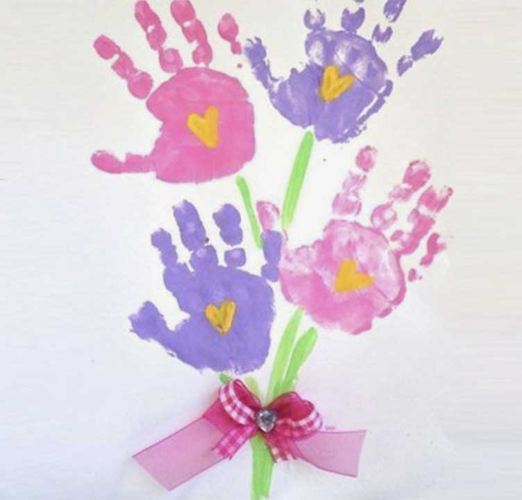Handprint Flowers mothers day gift