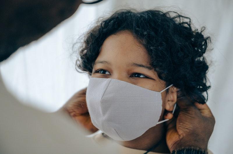 preschooler wearing a mask in raleigh